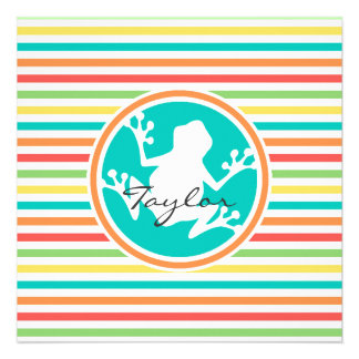 White Frog; Bright Rainbow Stripes Announcements