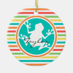 White Frog; Bright Rainbow Stripes Double-Sided Ceramic Round Christmas Ornament