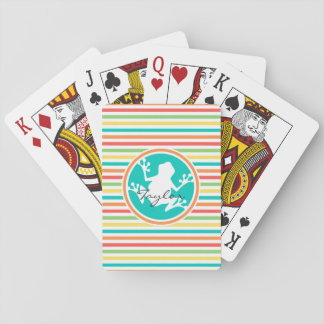 White Frog; Bright Rainbow Stripes Playing Cards