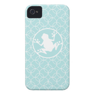 White Frog on Baby Blue Circles iPhone 4 Cover