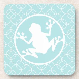 White Frog on Baby Blue Circles Coaster