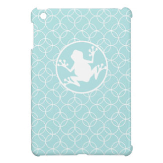 White Frog on Baby Blue Circles iPad Mini Cover