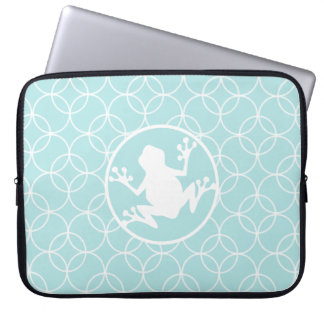 White Frog on Baby Blue Circles Laptop Computer Sleeves