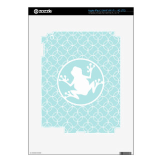 White Frog on Baby Blue Circles iPad 3 Decal