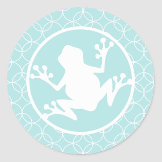 White Frog on Baby Blue Circles Round Stickers