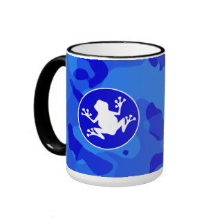 White Frog on Blue Camo; Camouflage Coffee Mugs