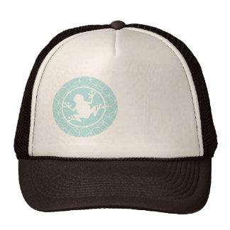 White Frog on Blue Circles Trucker Hat