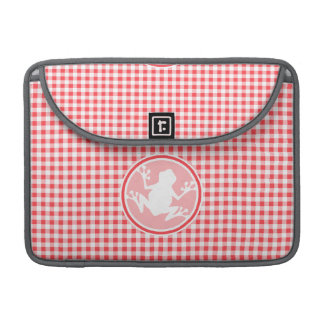White Frog; Red and White Gingham MacBook Pro Sleeves