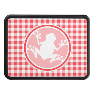 White Frog; Red and White Gingham Trailer Hitch Cover