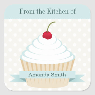 White Frosted Cupcake Kitchen Labels Square Sticker