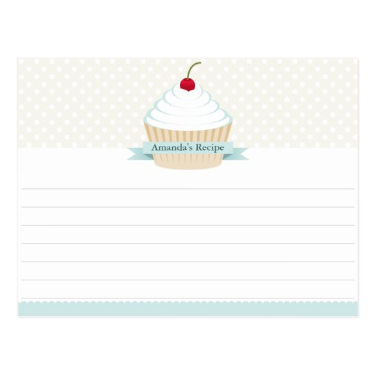 White Frosted Cupcake Recipe Cards