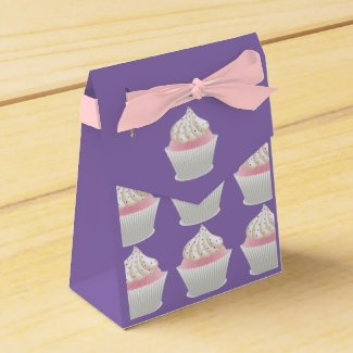 White Frosted Sprinkled Cupcakes Favor Box