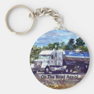 White Fuel Tanker Lorry Drivers Art Keychain