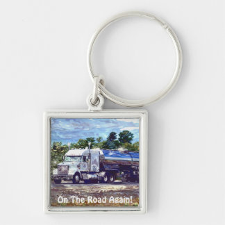 White Fuel Truck Lorry Drivers Art Keychain
