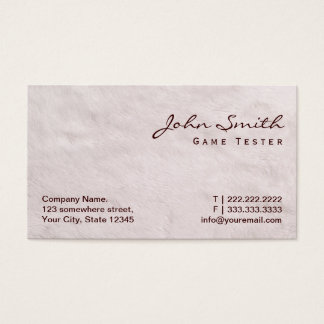 White Fur Game Testing Business Card