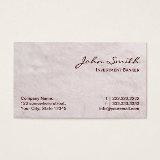 White Fur Investment Banker Business Card