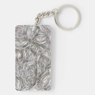 White Fur Pattern Double-Sided Rectangular Acrylic Keychain