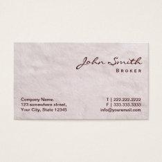 White Fur Real Estate Broker Business Card at Zazzle