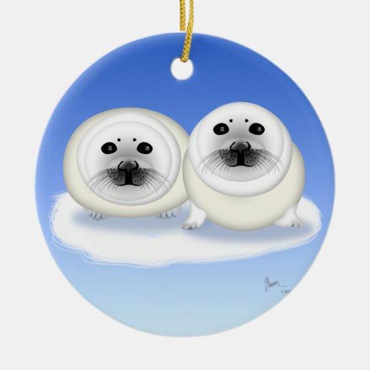 White Fur Seals Pups Ornament