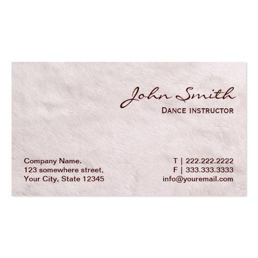 White Fur Texture Dance Business Card