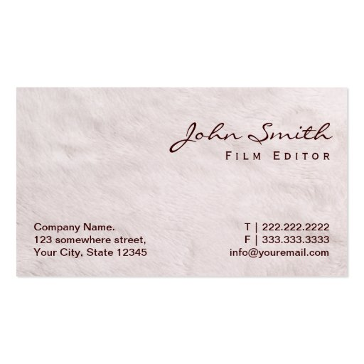 White Fur Texture Film Editor Business Card