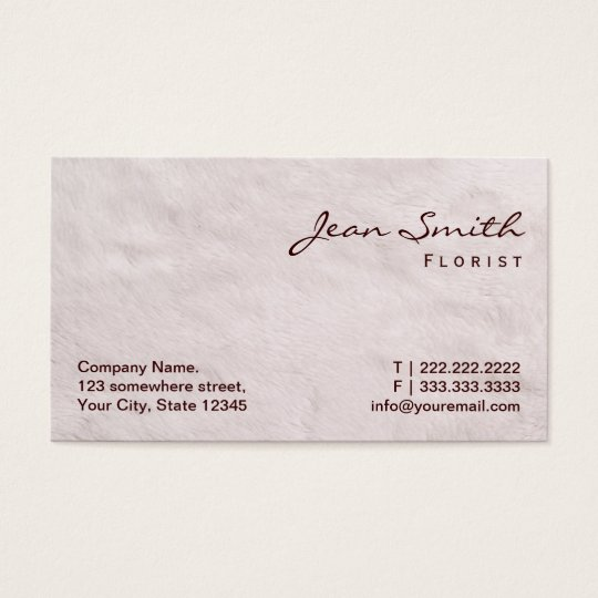 White Fur Texture Florist Business Card