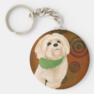 White & Furry Sweet Dog Looking Up. Digital Paint Keychain