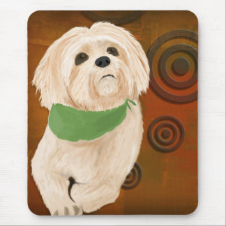 White & Furry Sweet Dog Looking Up. Digital Paint Mouse Pad