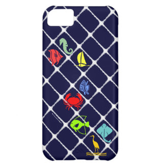White Fuzz Nautical Cover For iPhone 5C