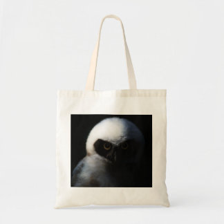White Fuzzy Owl with Piercing Gaze Tote Bag