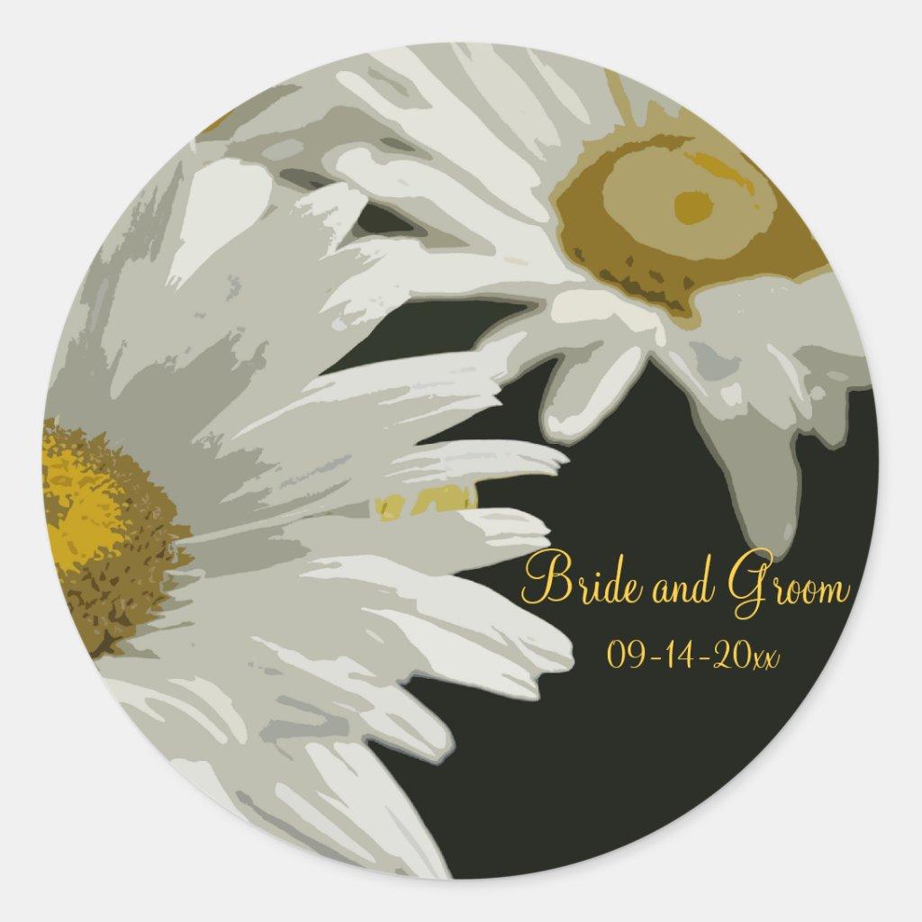 White Garden Daisies Wedding Envelope Seals Round Stickers