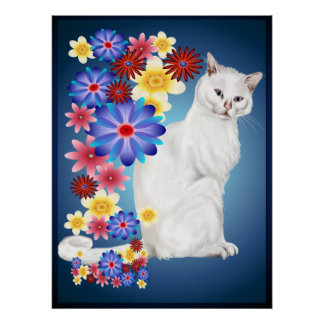 White Garden Kitty Poster