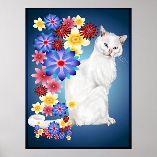 White Garden Kitty Poster