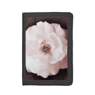 White Garden Rose Sepia Roses Flower Template Tri-fold Wallet