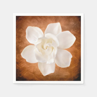 White Gardenia Flower Blossom Floral Napkin