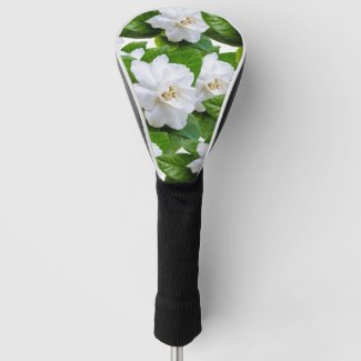 White gardenia flowers and green leaves golf head cover