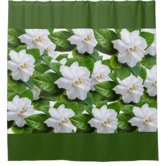 White gardenia flowers and green leaves on green shower curtain
