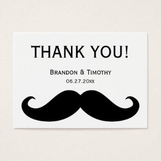 White Gay Wedding Favor Tags With Moustache