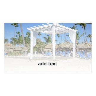 white gazebo on a tropical beach business card