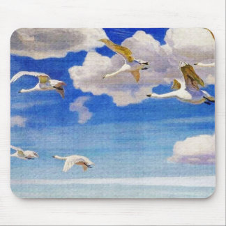 White Geese in Flight Mouse Pad