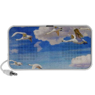 White Geese in Flight Notebook Speakers
