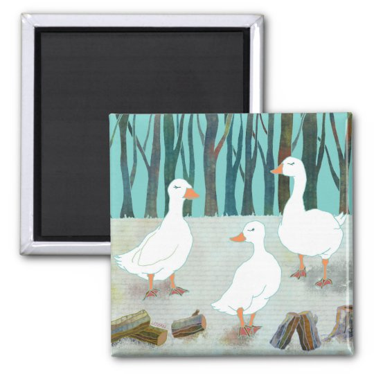 White Geese Magnet