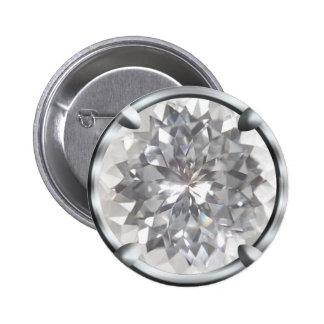 White Gem Design Pinback Button