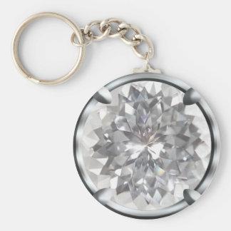 White Gem Design Keychain