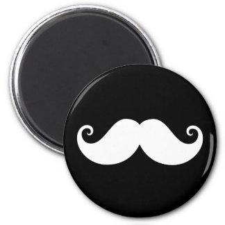 White gentleman handlebar mustache on black 2 inch round magnet