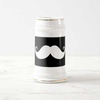 White gentleman handlebar mustache on black beer stein