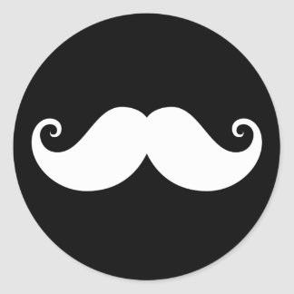 White gentleman handlebar mustache on black classic round sticker