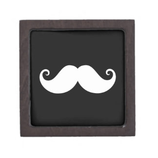 White gentleman handlebar mustache on black gift box