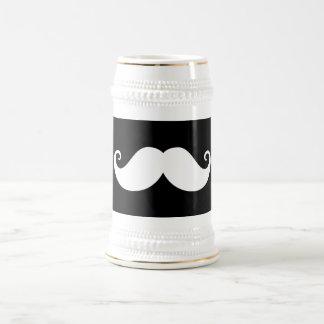 White gentleman handlebar mustache on black 18 oz beer stein