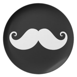 White gentleman handlebar mustache on black party plate